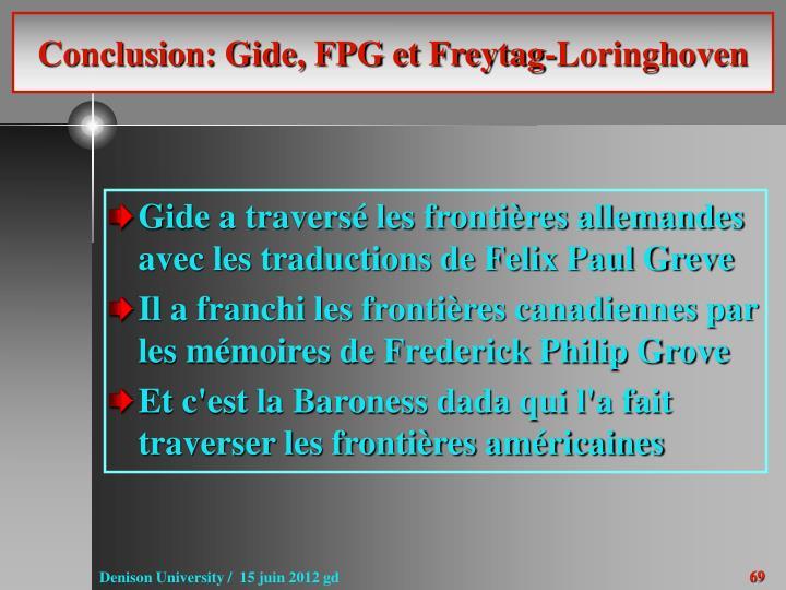 Conclusion: Gide, FPG et Freytag-Loringhoven