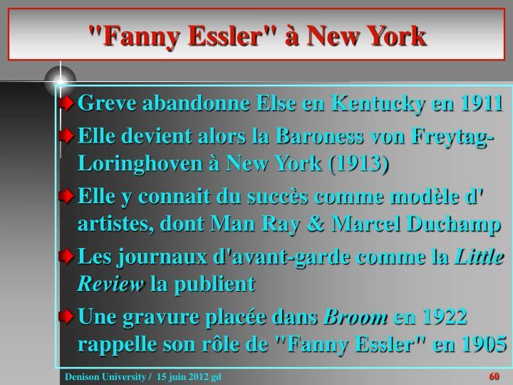 """Fanny Essler"" à New York"