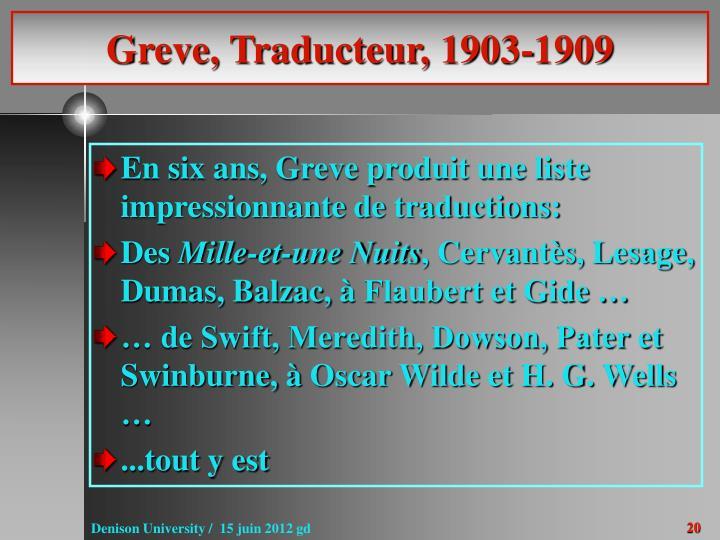 Greve, Traducteur, 1903-1909
