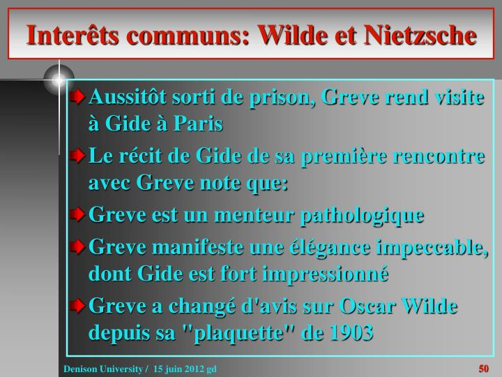 Interêts communs: Wilde et Nietzsche