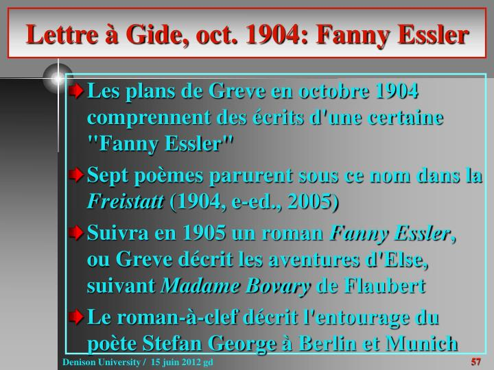 Lettre à Gide, oct. 1904: Fanny Essler
