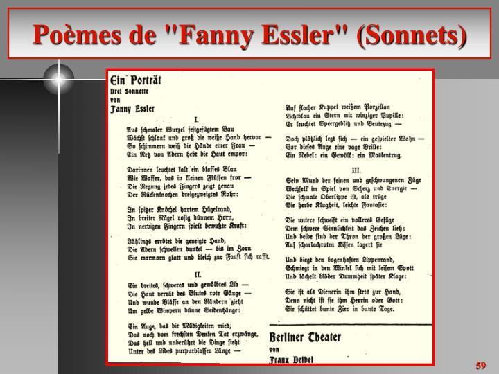 """Poèmes de """"Fanny Essler"""" (Sonnets)"""