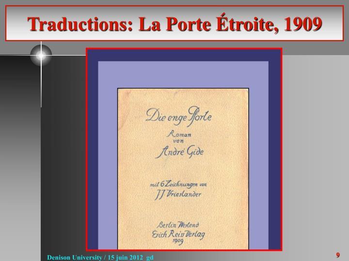 Traductions: La Porte Étroite, 1909