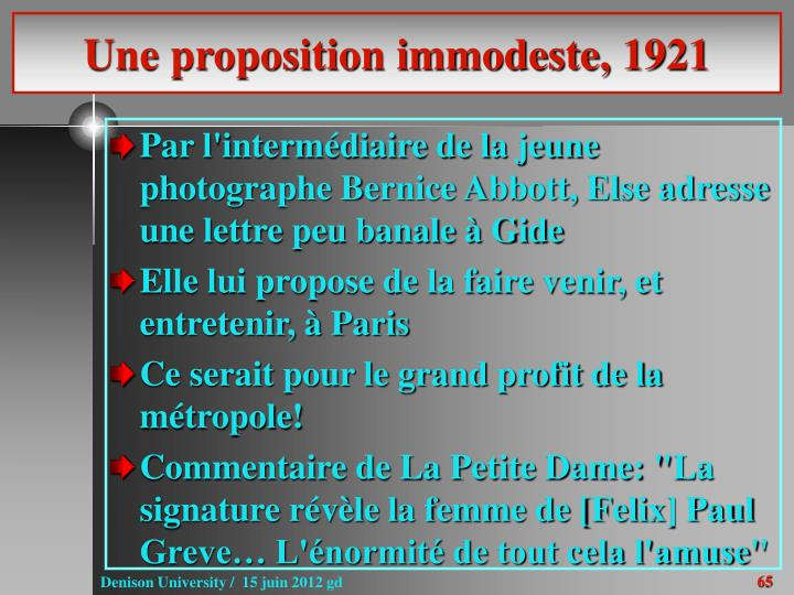 Une proposition immodeste, 1921