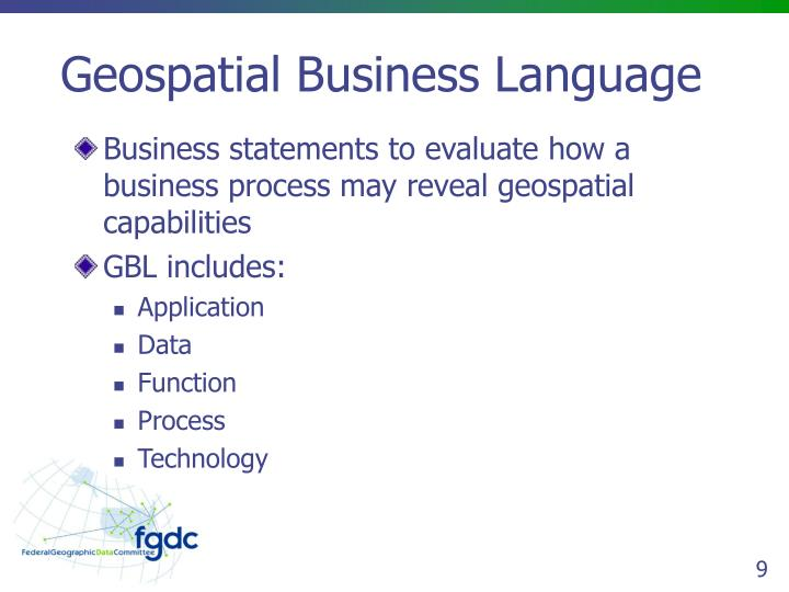 Geospatial Business Language