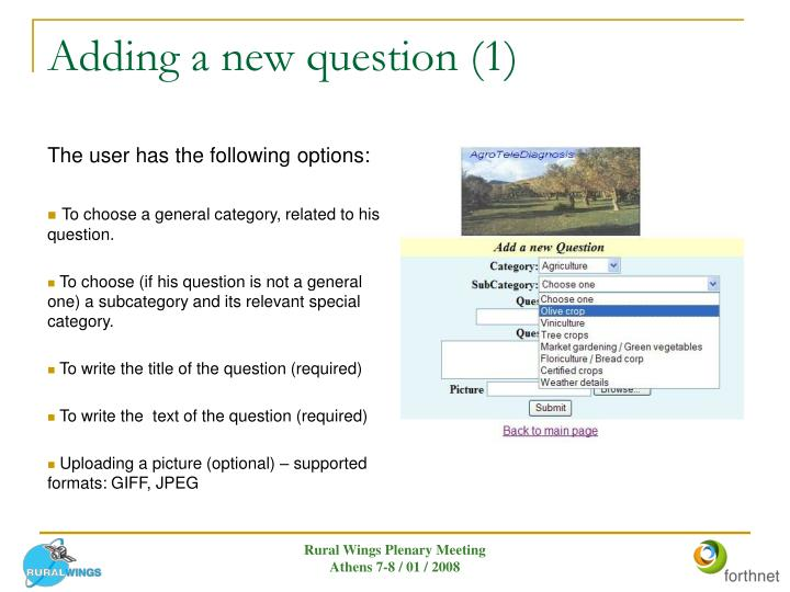 Adding a new question (1)
