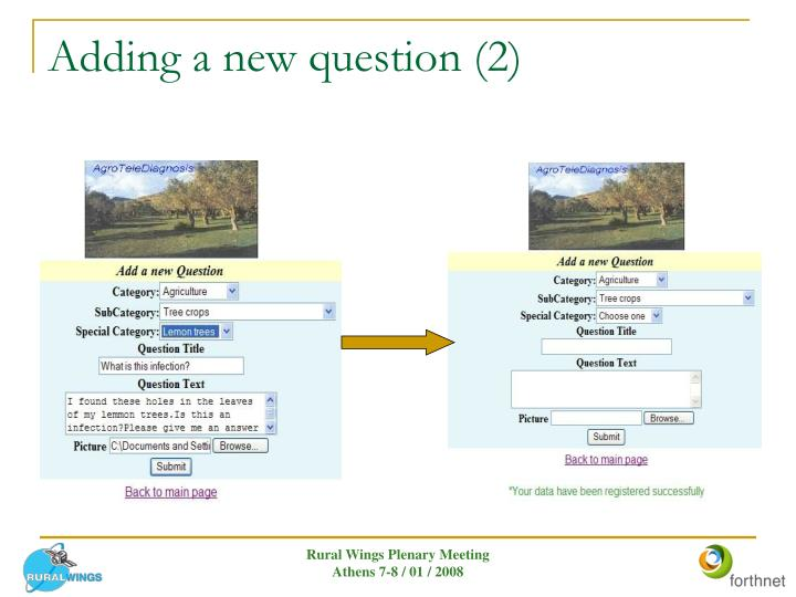 Adding a new question (2)