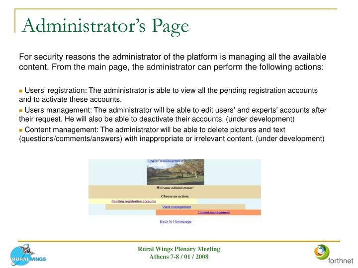 Administrator's Page