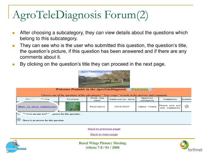 AgroTeleDiagnosis Forum(2)