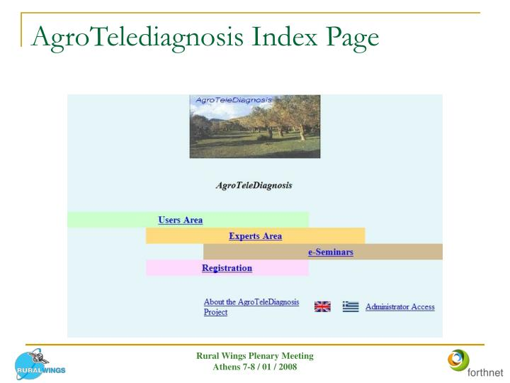 AgroTelediagnosis Index Page