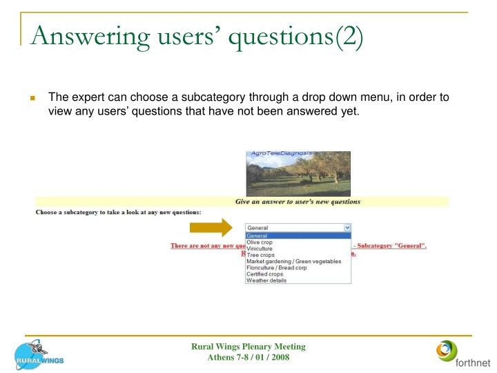 Answering users' questions(2)