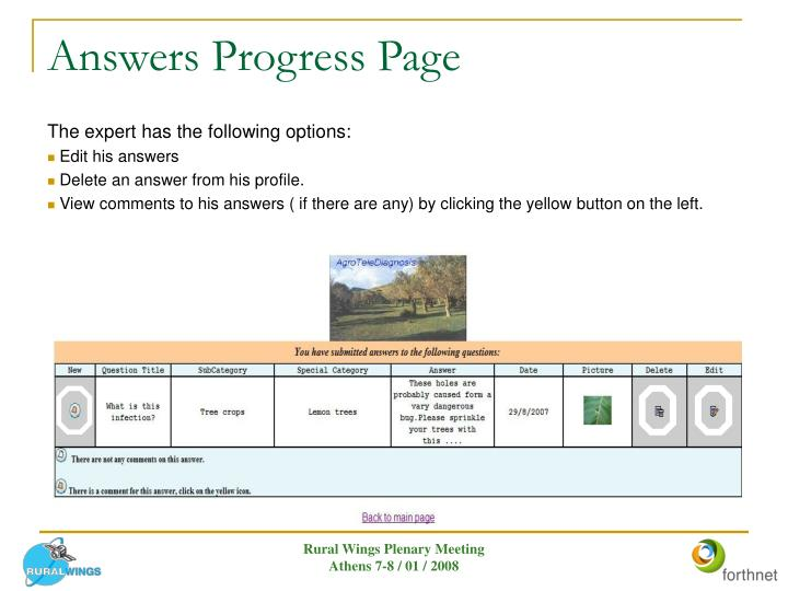 Answers Progress Page