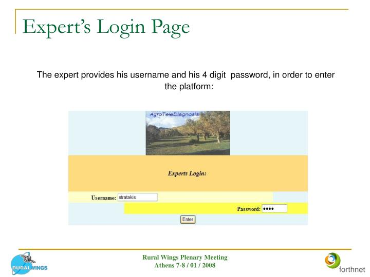Expert's Login Page