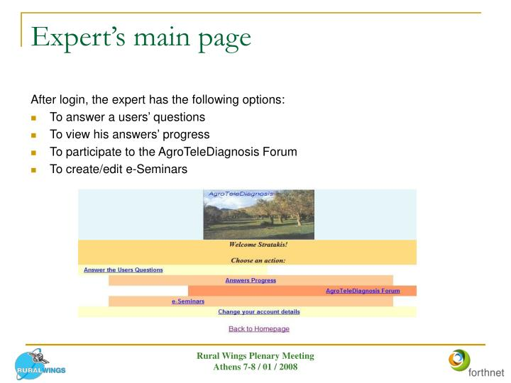 Expert's main page