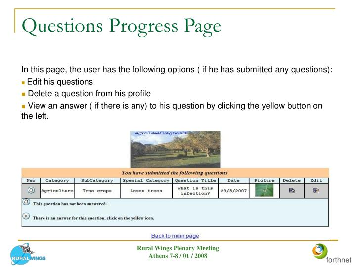 Questions Progress Page