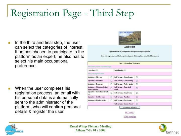Registration Page - Third Step