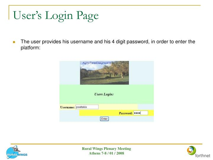 User's Login Page