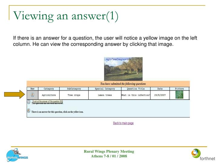 Viewing an answer(1)