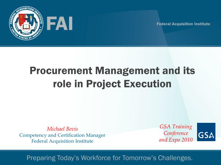 Procurement management and its role in project execution