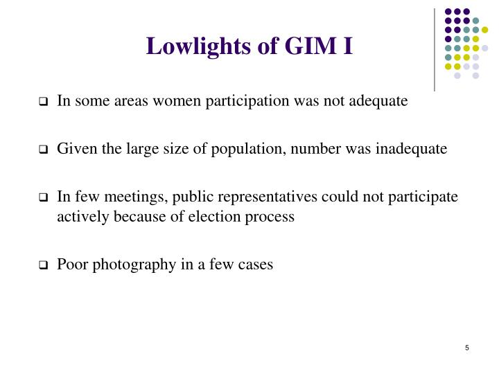 Lowlights of GIM I