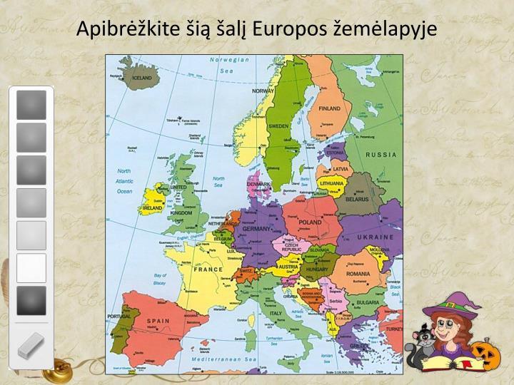 Apibrėžkite šią šalį Europos žemėlapyje
