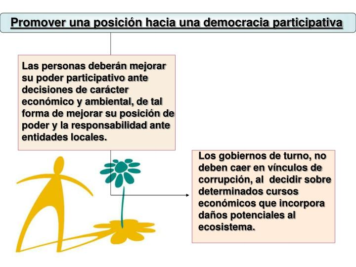 Promover una posición hacia una democracia participativa