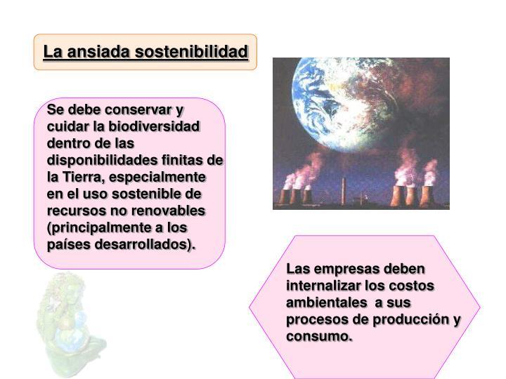 La ansiada sostenibilidad
