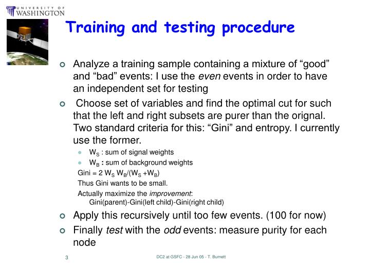 Training and testing procedure