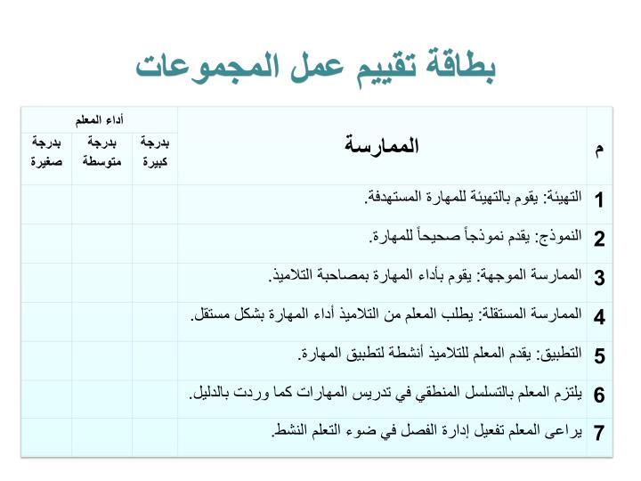بطاقة تقييم عمل المجموعات