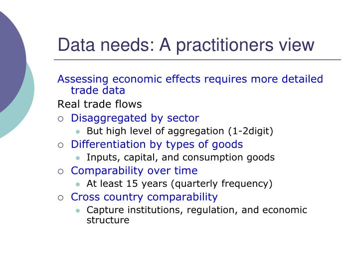 Data needs: A practitioners view