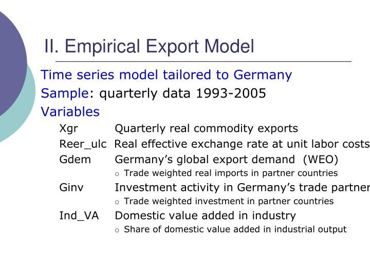 II. Empirical Export Model