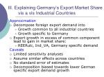 iii explaining germany s export market share vis a vis industrial countries