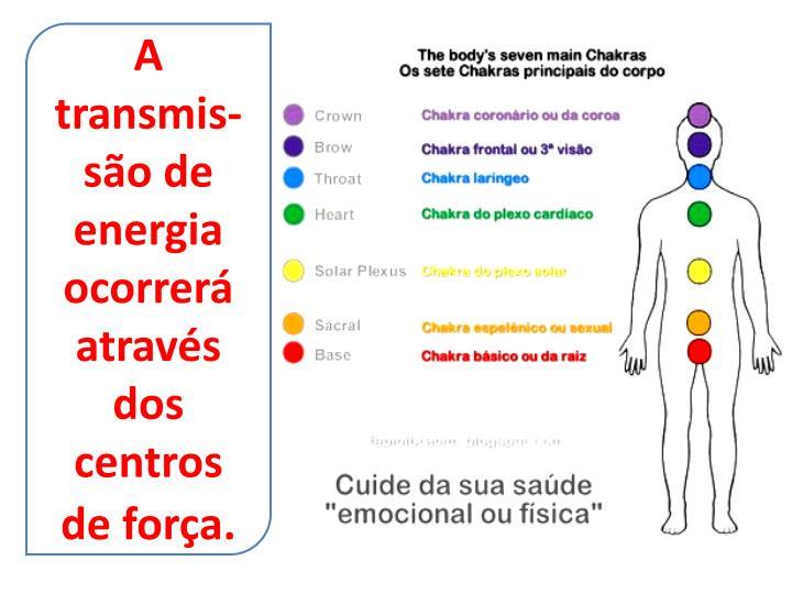 A transmis-são de energia ocorrerá através dos centros de força.