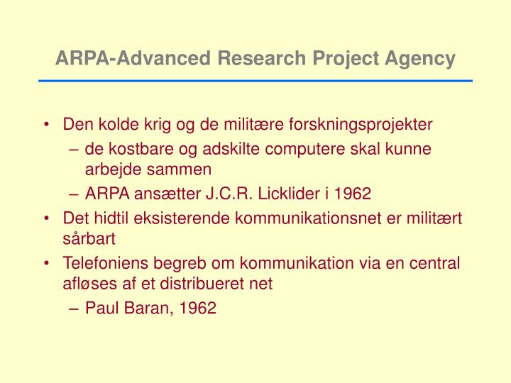 ARPA-Advanced Research Project Agency