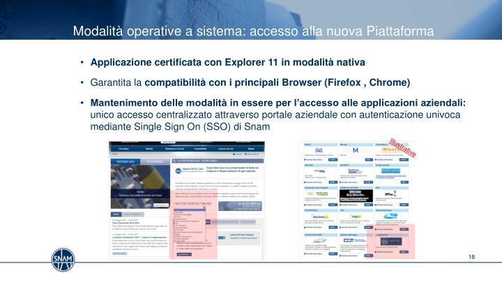 Modalità operative a sistema: accesso alla nuova Piattaforma