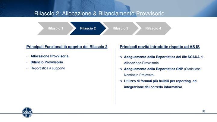 Rilascio 2: Allocazione & Bilanciamento Provvisorio