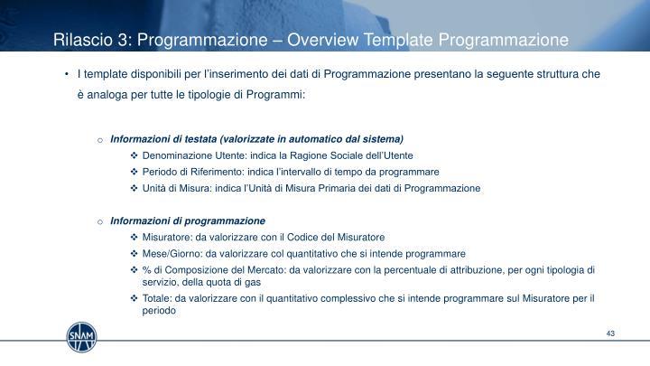 Rilascio 3: Programmazione –
