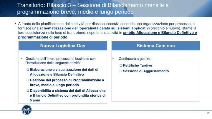 Transitorio: Rilascio 3 – Sessione di Bilanciamento mensile e programmazione breve, medio e lungo periodo