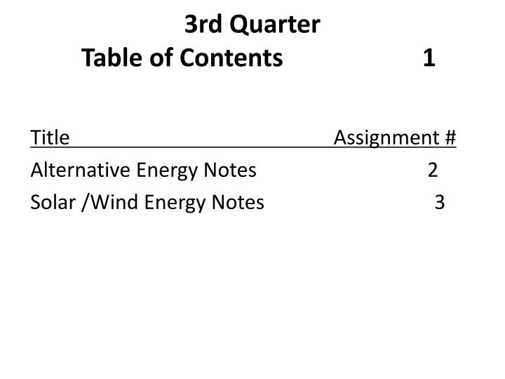 3rd quarter table of contents 1