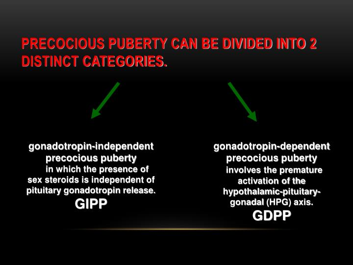 Precocious puberty can be divided into 2 distinct categories.