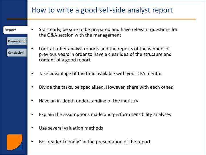 How to write a good sell side analyst report