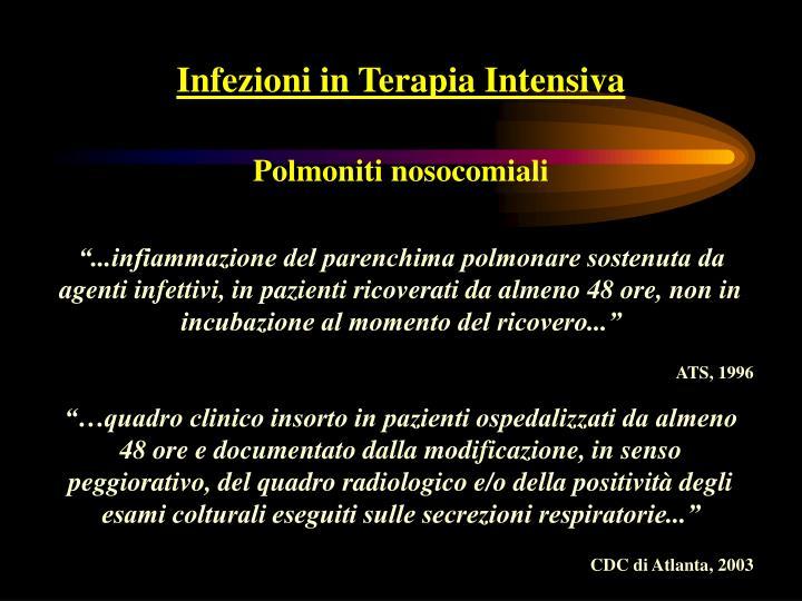 Infezioni in Terapia Intensiva