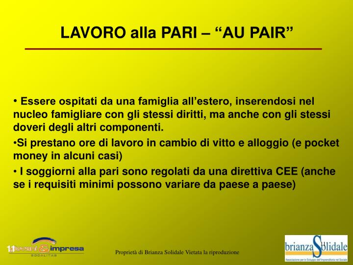 """LAVORO alla PARI – """"AU PAIR"""""""