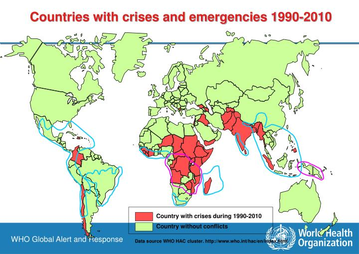 Countries with crises and emergencies 1990-2010