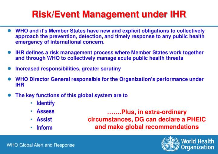 Risk/Event Management under IHR