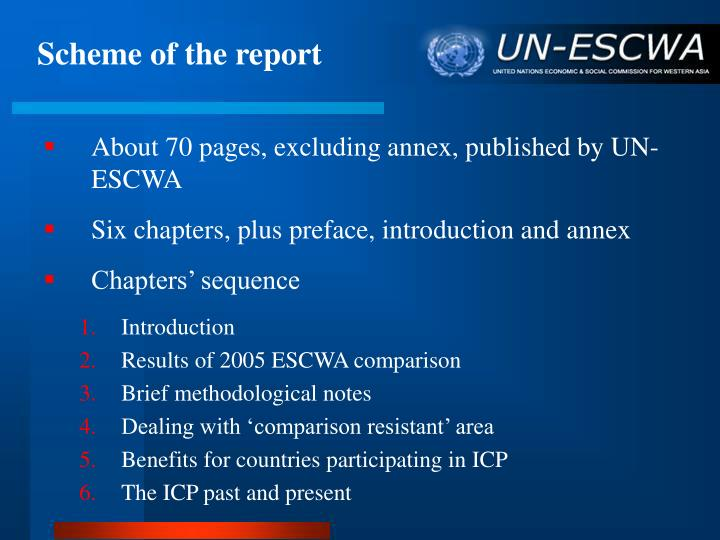 Scheme of the report