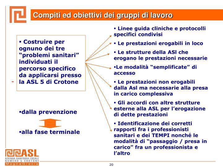 """Costruire per ognuno dei tre """"problemi sanitari"""" individuati il percorso specifico da applicarsi presso la ASL 5 di Crotone"""