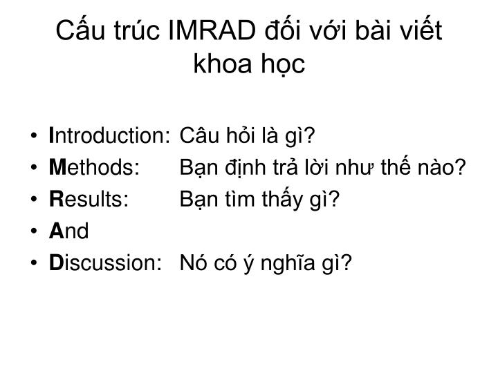 Cấu trúc IMRAD đối với bài viết khoa học