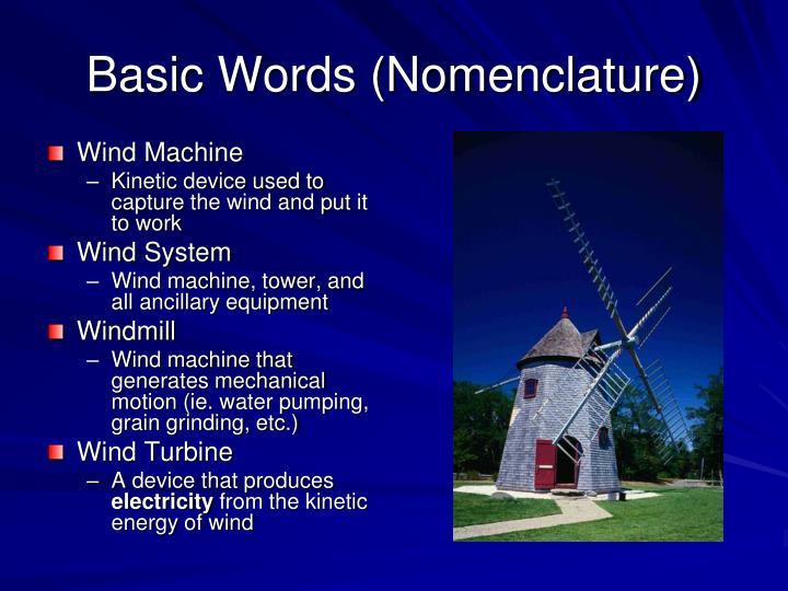 Basic Words (Nomenclature)