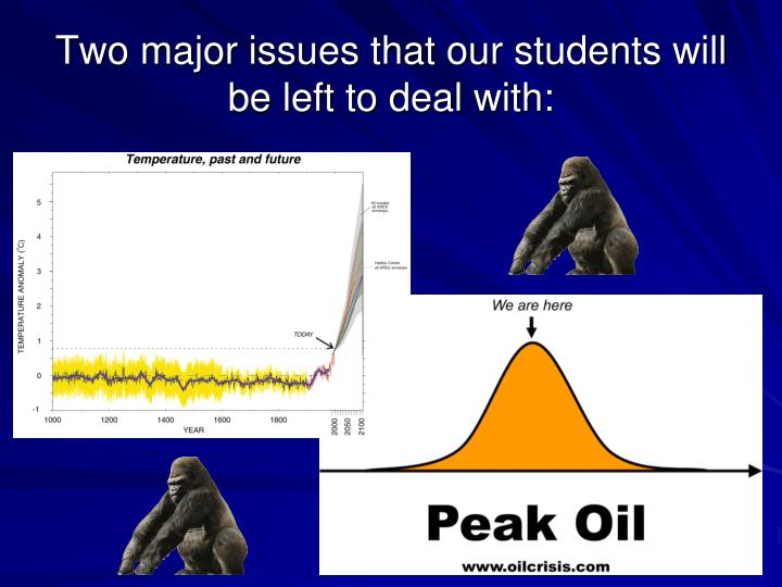 Two major issues that our students will be left to deal with: